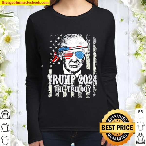 Trump American flag reelection Trump 2024 the Trilogy Women Long Sleeved