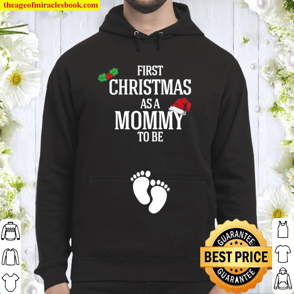 Womens First Christmas Mommy To Be Pregnancy Announcement Hoodie