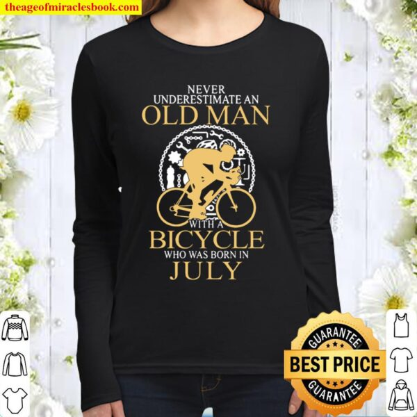 bicycle old man bicycle who was born in July Women Long Sleeved