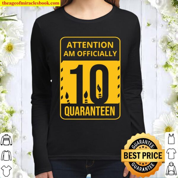 10Th Quarantine Birthday Gift Officially 10 Years Old Women Long Sleeved