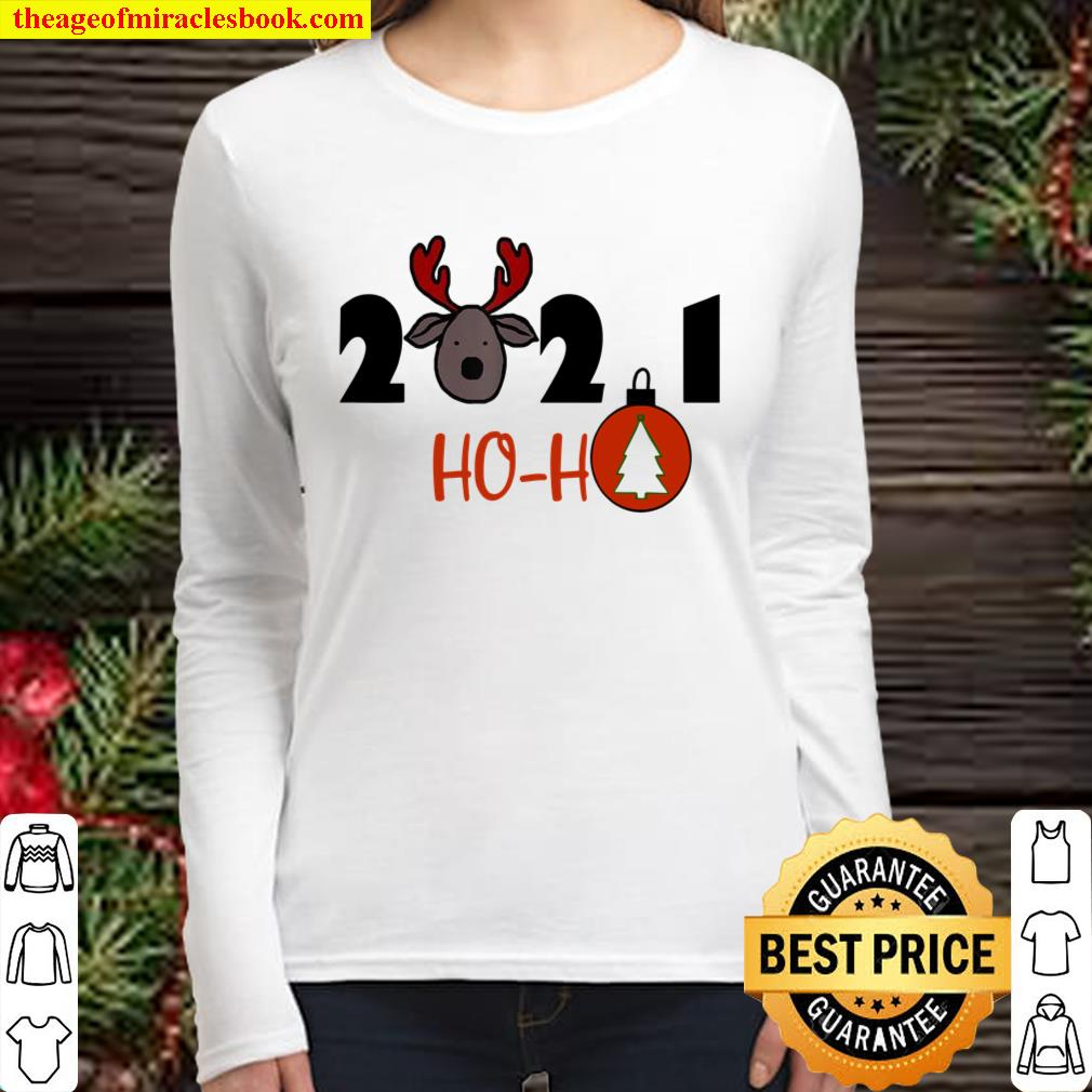 4PPL 2021 ho ho deer a new year and Christmas Women Long Sleeved