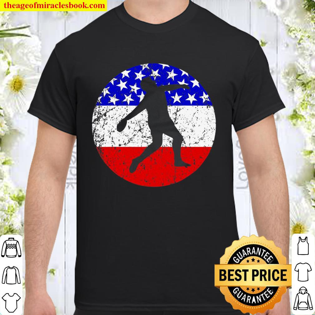 American Flag Discus Throw Vintage Retro Track And Field Shirt