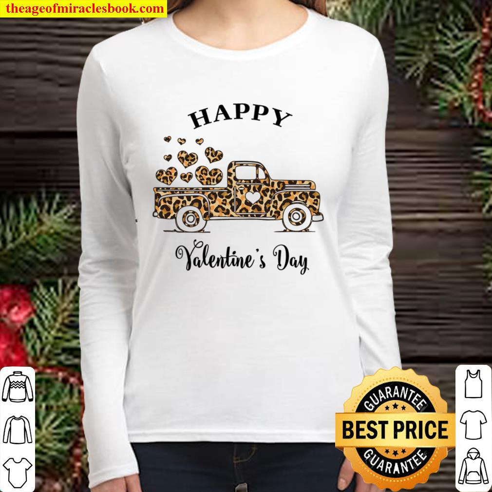 Animal Print Truck, Happy Valentines Day, Valentines Day Shirt For Cou Women Long Sleeved