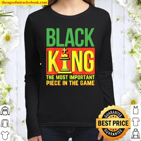 Black King Chess African American History Month Man Dad Bruh Women Long Sleeved