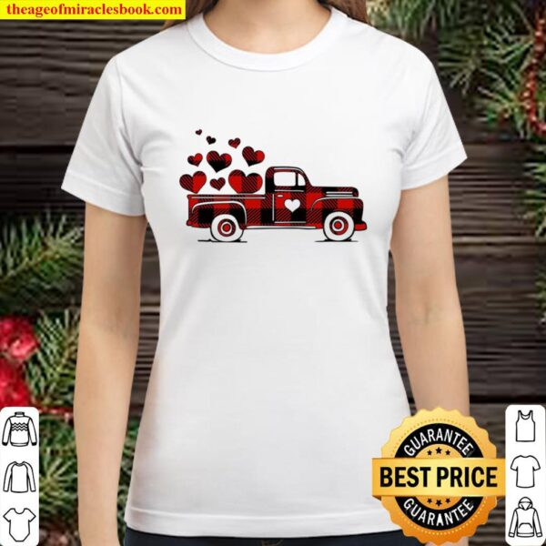 Buffalo Plaid Valentine Truck, Happy Valentines Day, Valentines Day Sh Classic Women T-Shirt