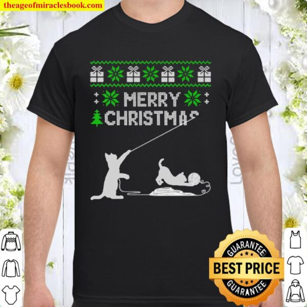 Cat play with wool roll merry Christmas ugly Shirt