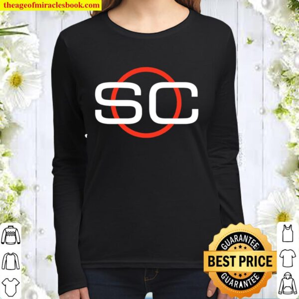 ESPN Sports Center Red _ White Circle Logo Women Long Sleeved