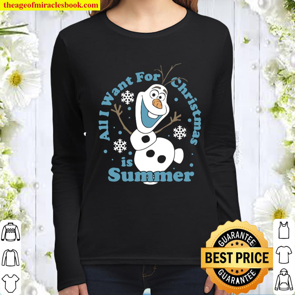 Frozen Olaf All I Want For Christmas Is Summer Women Long Sleeved