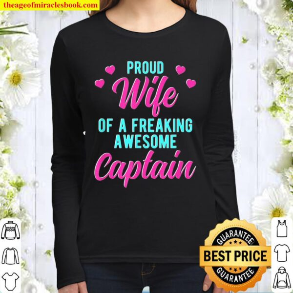 Funny Boat Sailing Husband Phrase For Captain Wife Women Long Sleeved