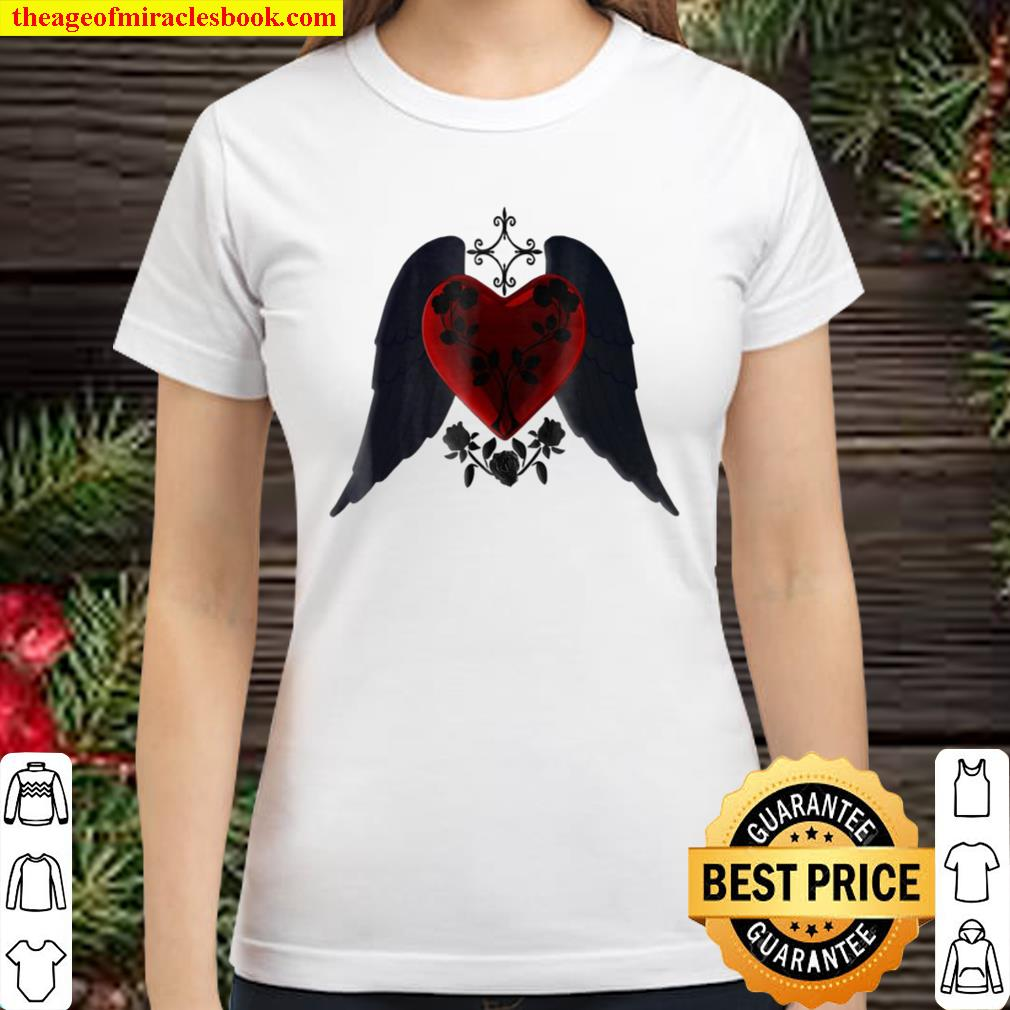 Goth Red Heart With Black Wings And Roses Classic Women T-Shirt