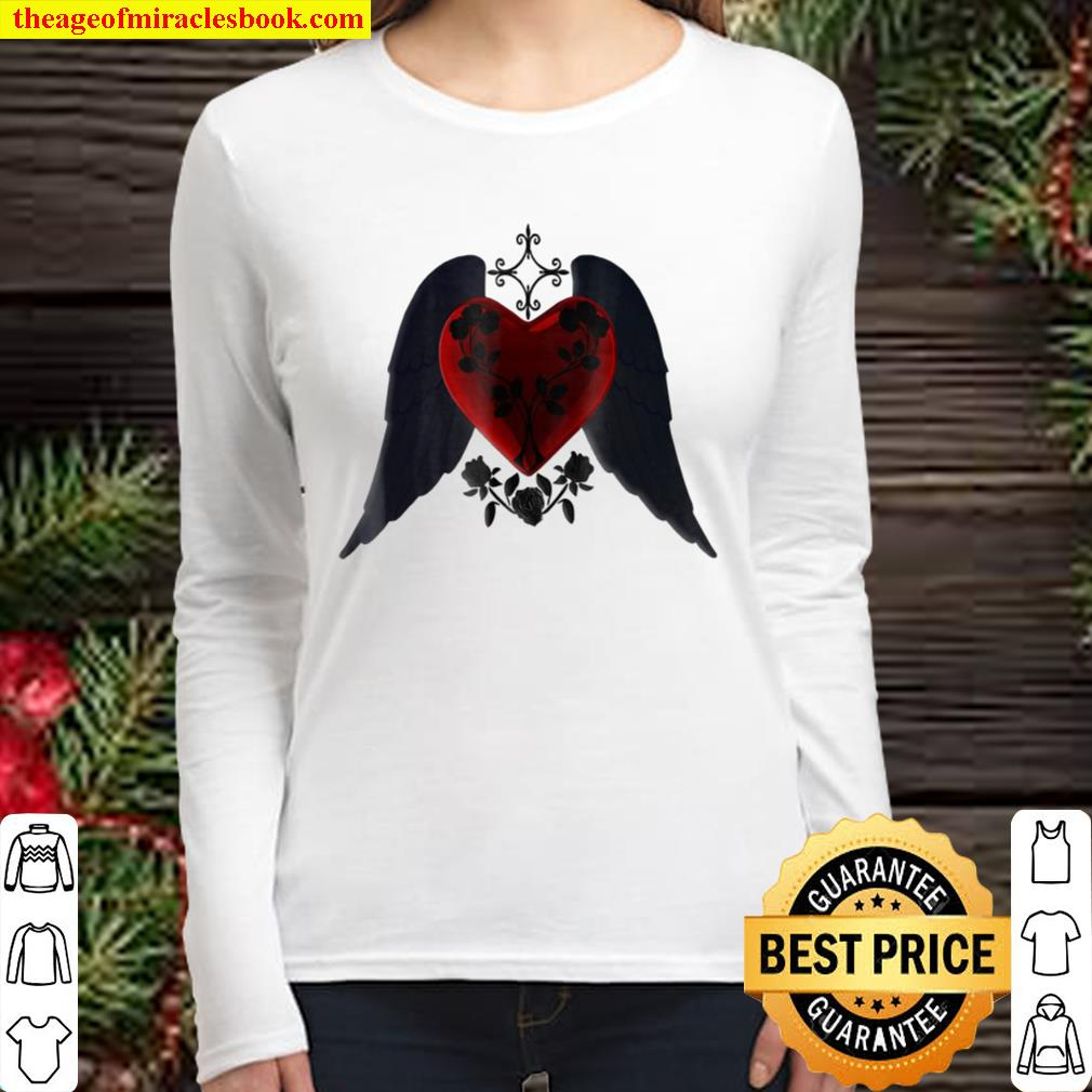 Goth Red Heart With Black Wings And Roses Women Long Sleeved