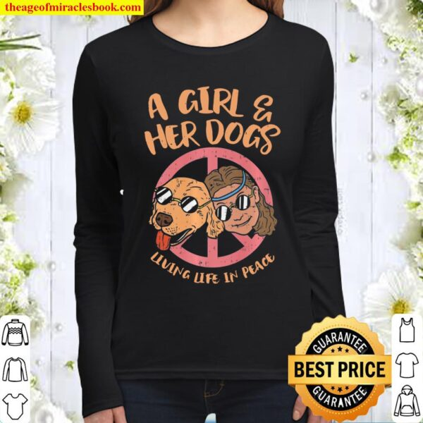 Hippy, A Girl And Her Dog Living Life In Peace _ Love Premium Women Long Sleeved