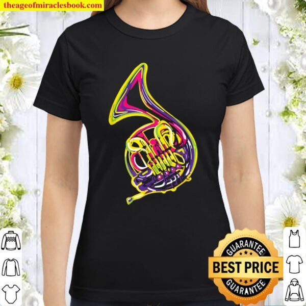 Horn Colorful Design for French Horn Players Classic Women T-Shirt