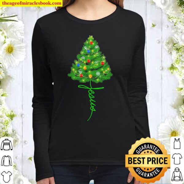 Jesus Christmas tree Women Long Sleeved