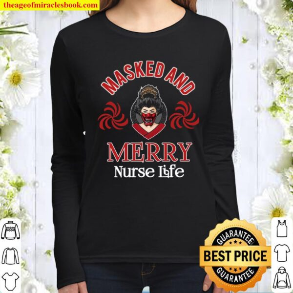 Masked And Merry Nurse Life Women Long Sleeved