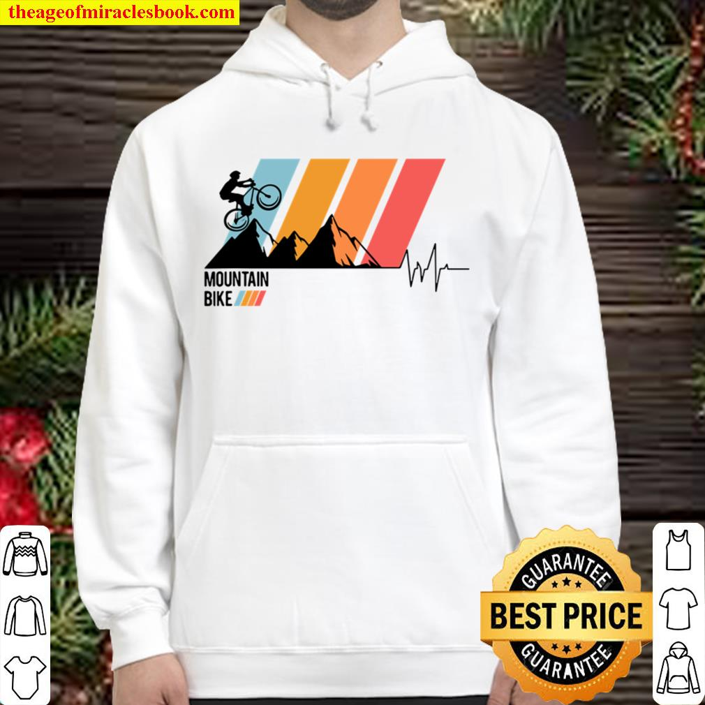 Mountain Bike Love Heartbeat Off-Road Cycle Trail Rider Gift Hoodie