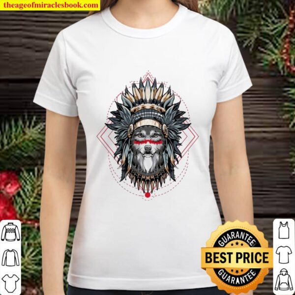 Mountain Wolf Gifts Chief Of The Wolf Pack Tribal Wolves Classic Women T-Shirt