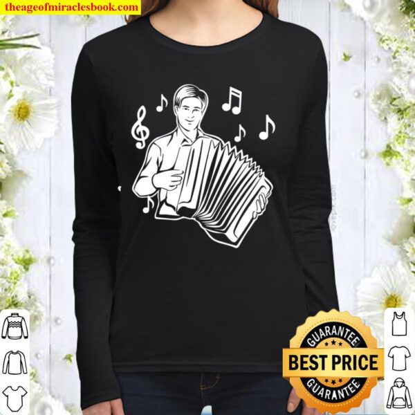 Music Notes Musician Design for Music Accordionist Women Long Sleeved