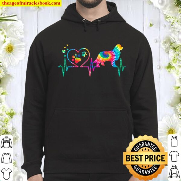 Newfoundland Newfie Mom Dad Heartbeat Tie Dye Dog Hoodie
