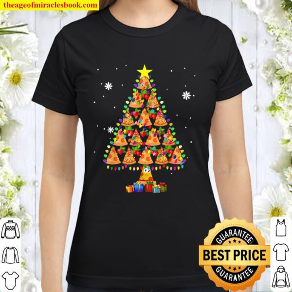 Pizza Christmas Tree Lights Lover Funny Xmas Classic Women T-Shirt