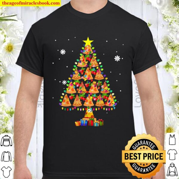 Pizza Christmas Tree Lights Lover Funny Xmas Shirt