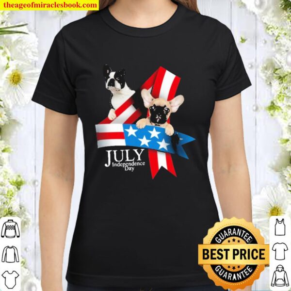 Pug and chihuahua july independence day flag american Classic Women T-Shirt