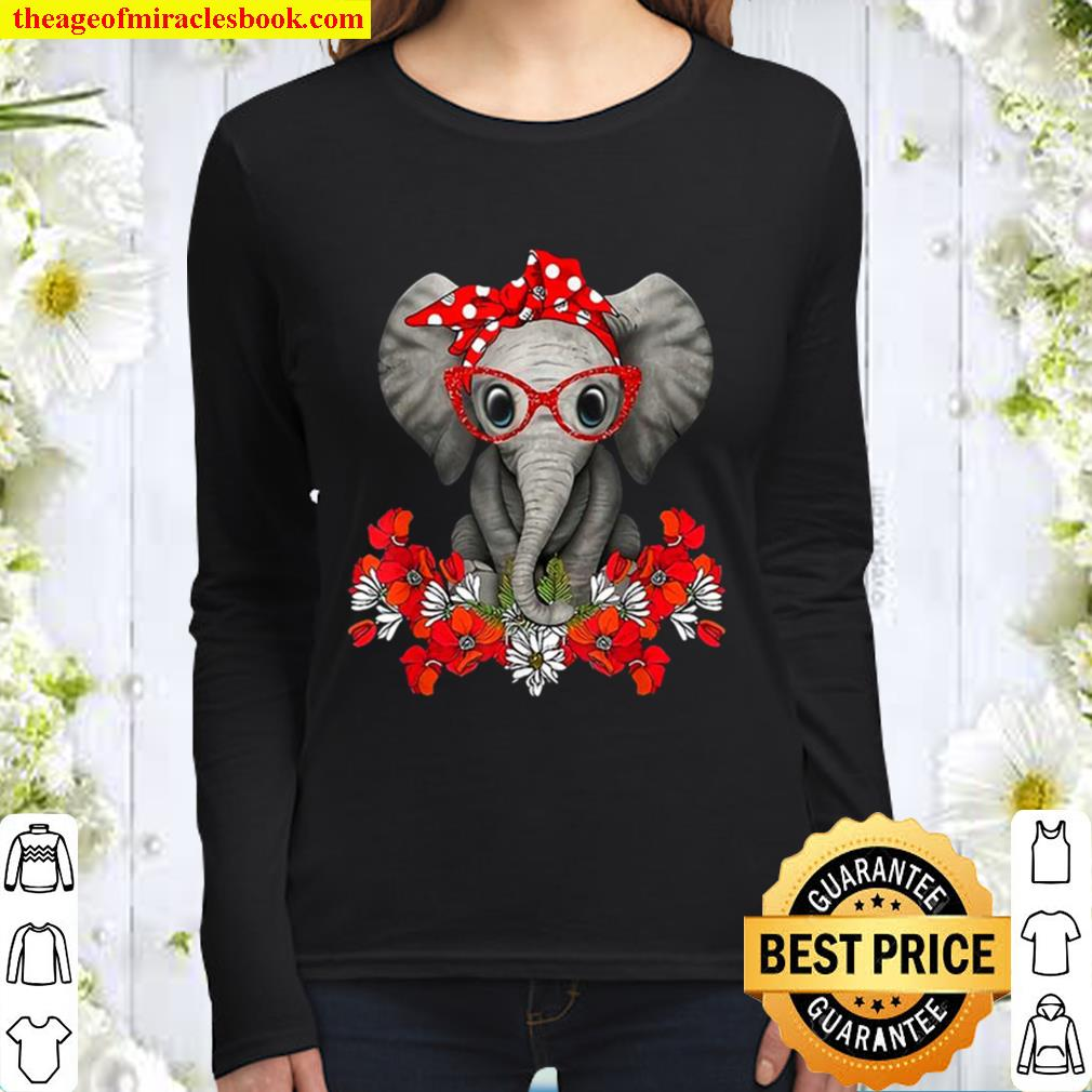 Save The Elephants Elephant Mom Red Bow Womant Women Long Sleeved