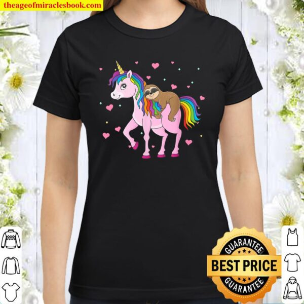 Sloth Riding Unicorn Funny Valentine Sloth Lover Gifts Classic Women T-Shirt