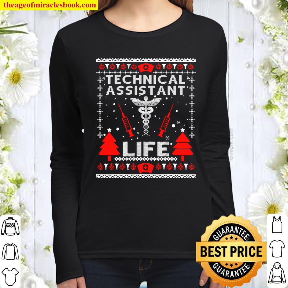 Teaching Assistant Life Cute Gift Ugly Christmas Medical Women Long Sleeved