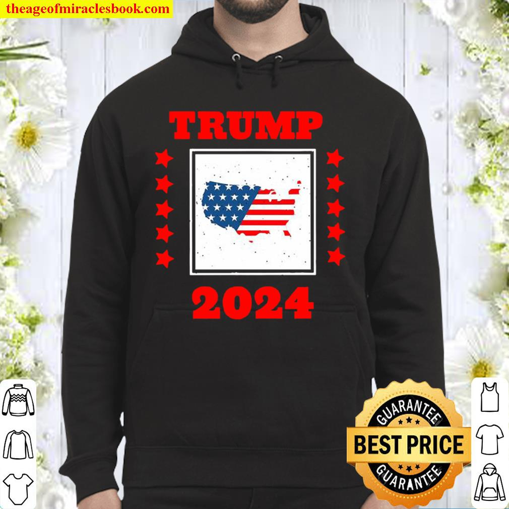 Trump 2024 Election He Still My President Election American Flag Map Hoodie