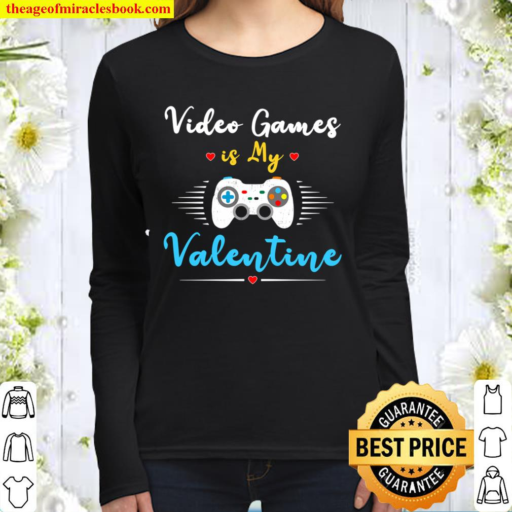 Valentine_s Day Gamer Gift Shirt-Video Games Is My Valentine Women Long Sleeved