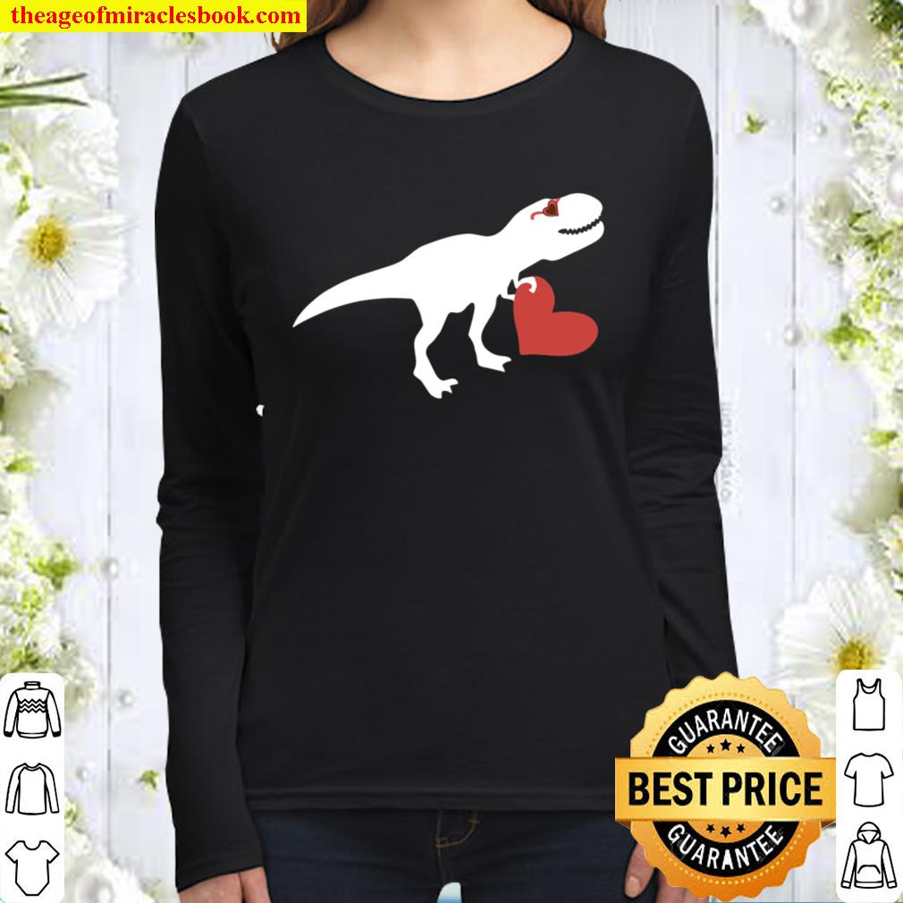 Valentines Day Heart Dinosaur Party Shirts For Boys Women Long Sleeved