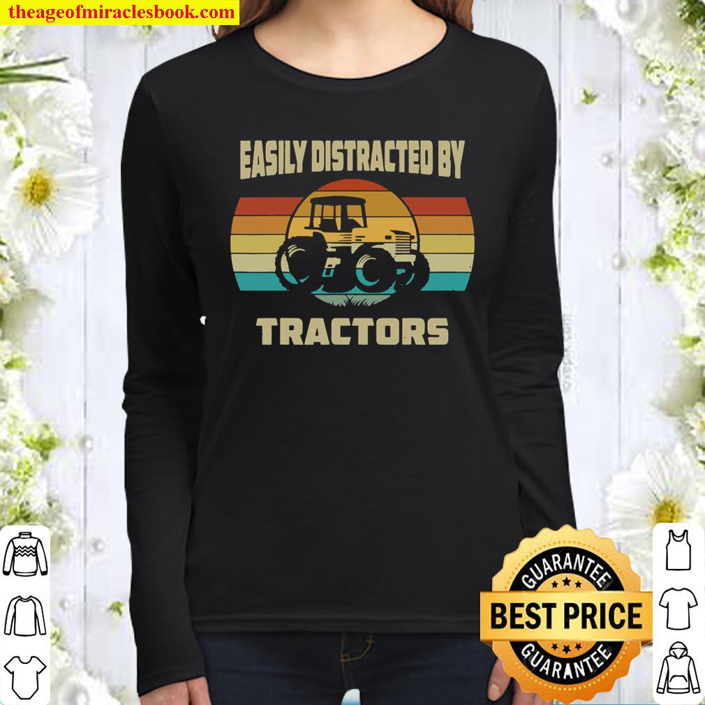 Vintage Tractor Lovers Easily Distracted by Tractors Women Long Sleeved