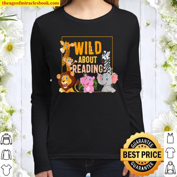 Wild About Reading Cute Zoo Animals Books Lover Students Women Long Sleeved