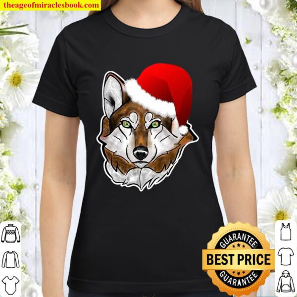 Wolf Santa Hat Christmas Gift For Wolves Lovers Classic Women T-Shirt