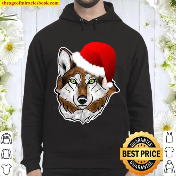 Wolf Santa Hat Christmas Gift For Wolves Lovers Hoodie
