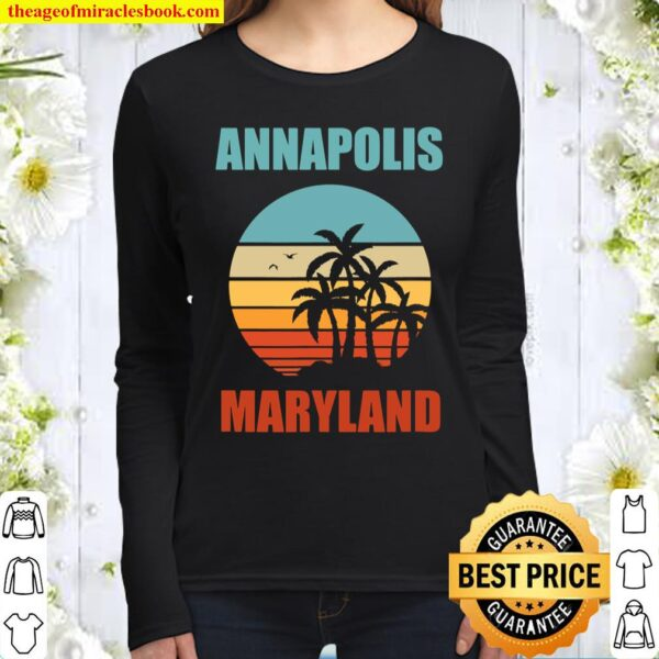 Annapolis Maryland Vintage Vacation Women Long Sleeved