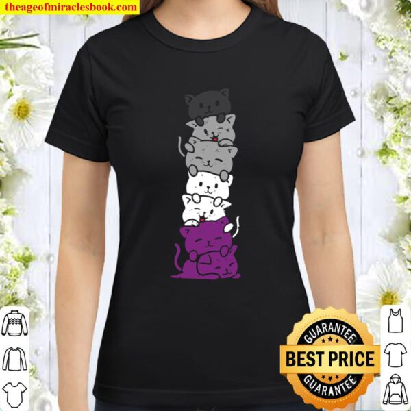 Cat Stack Asexual Pride Cute Ace Flag Animal Pet Lover Gift Classic Women T-Shirt