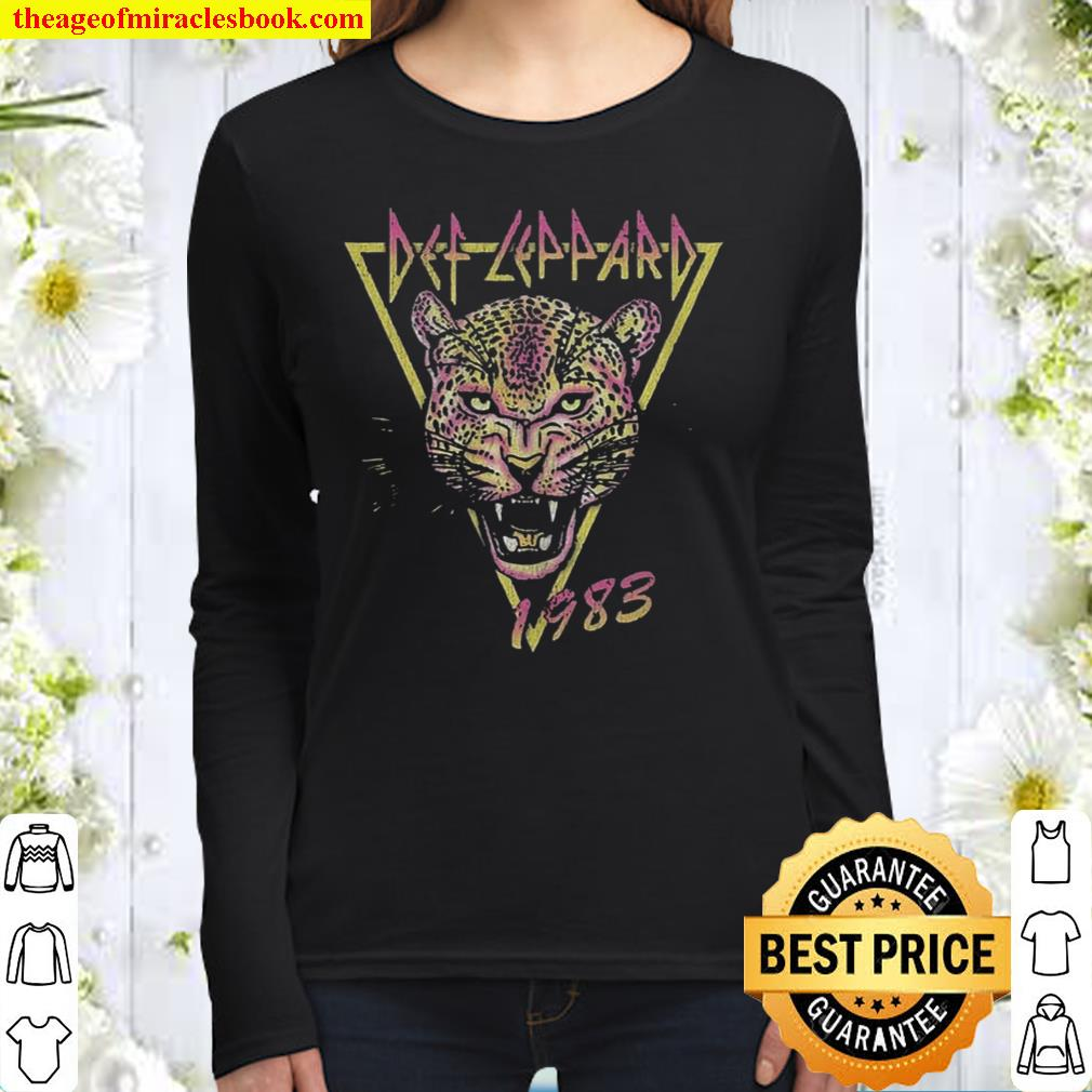 Def Leppard Neon Cat Rolled Up Women Long Sleeved