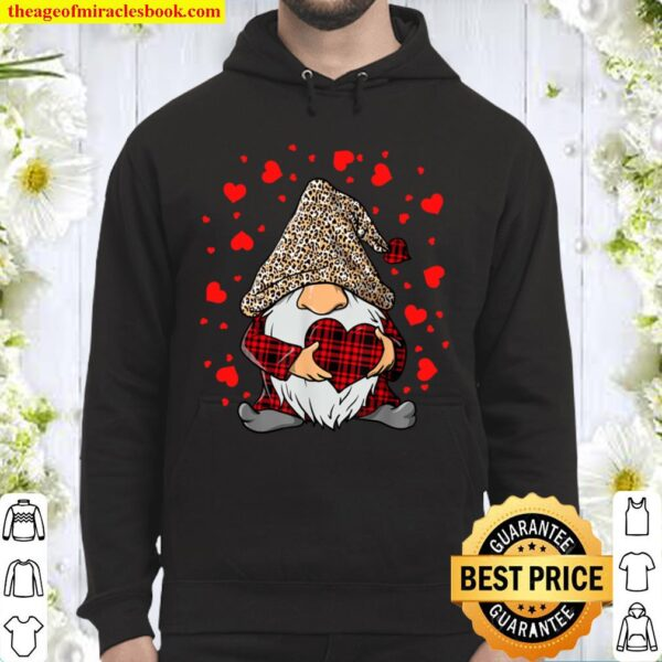 Gnomes Holding Heart Leopard Happy Valentine_s Day Tee Hoodie