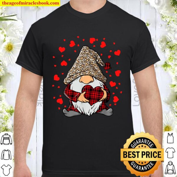 Gnomes Holding Heart Leopard Happy Valentine_s Day Tee Shirt
