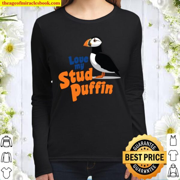 Love My Stud Puffin Valentines Day Couples Women Long Sleeved