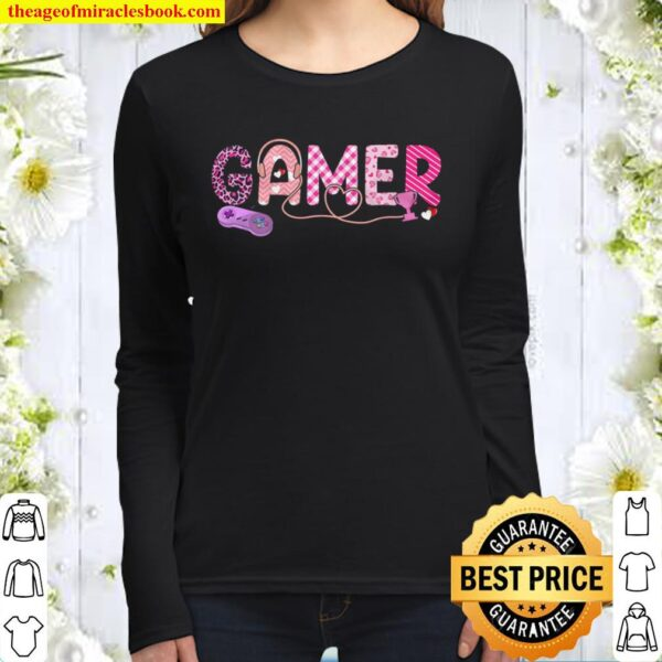 Love Pink Gamer Happy Valentine Day Awesome Funny Gift Shirt Ideas For Women Long Sleeved