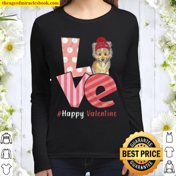 Love Shetland Sheepdog Happy Valentine Day Awesome Funny Gift Shirt Id Women Long Sleeved