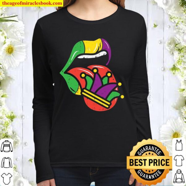Mardi Gras Lip Tongue Out Jester Hat Mouth Nola Women Long Sleeved