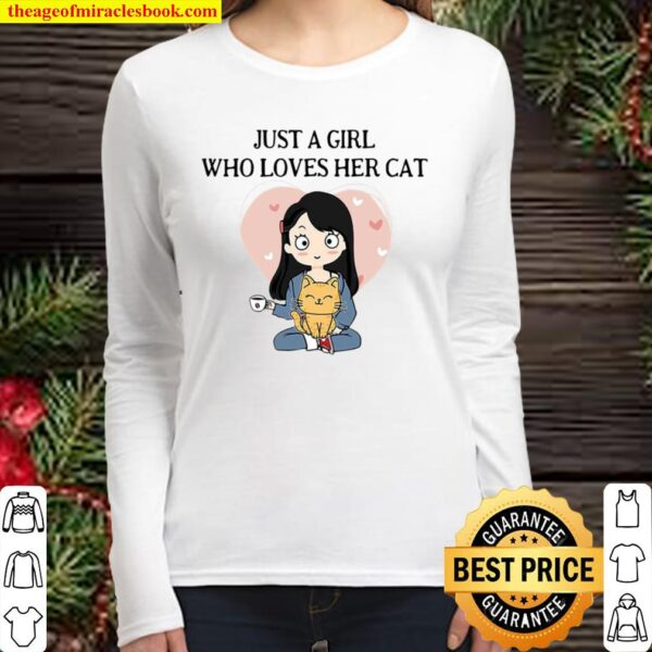 Official Chibi Girl Just A Girl Who Loves Her Cat Women Long Sleeved