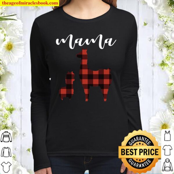 Plaid Mama Llama Pajama Top, Buffalo Plaid Mama Llama Women Long Sleeved