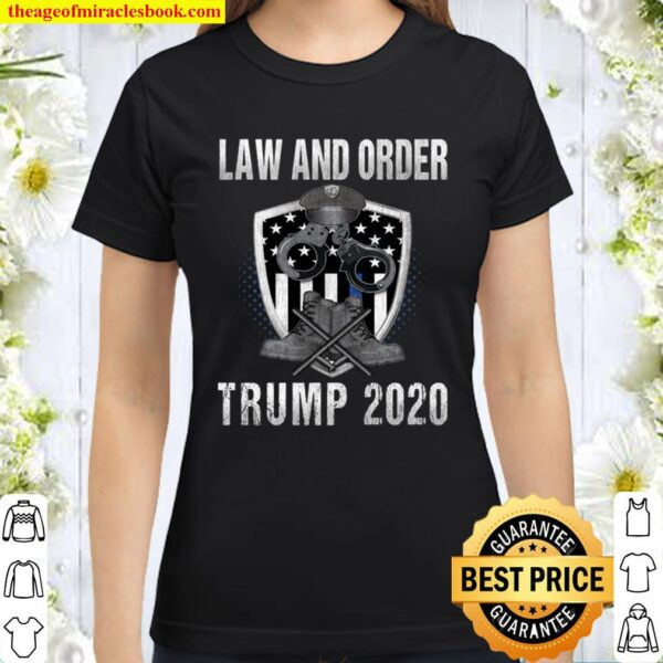Pro Trump 2020 Thin Blue Line Flag Support The Police Gift Langarmshir Classic Women T-Shirt