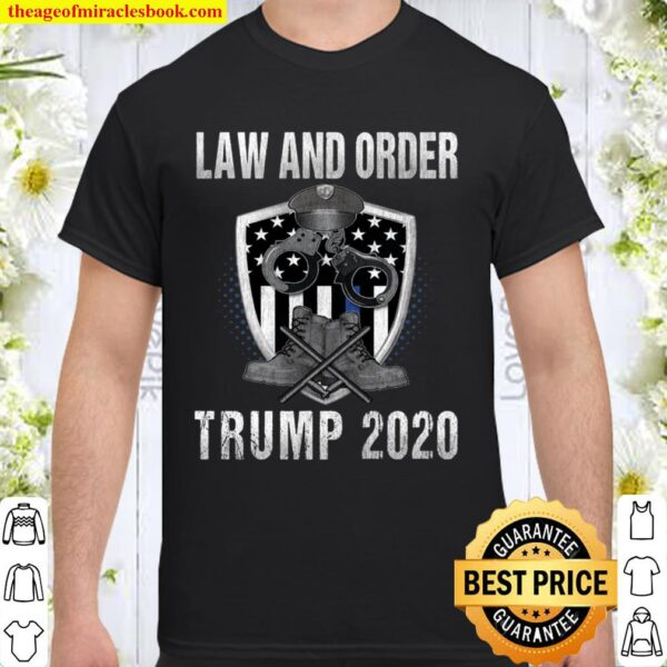Pro Trump 2020 Thin Blue Line Flag Support The Police Gift Langarmshir Shirt