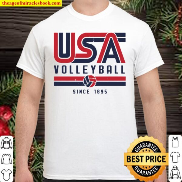 Usa Distressed Effect Classic Volleyball Design Red And Blue Pullover Shirt